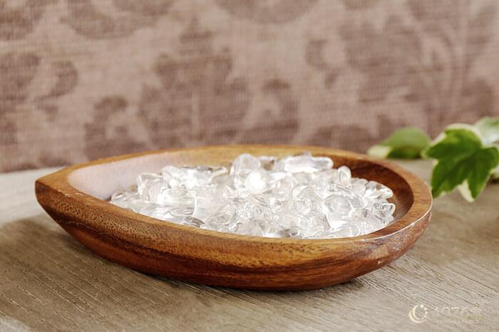 水晶さざれ浄化セット(ホワイトセージ、アカシア木製皿・ドロップ)