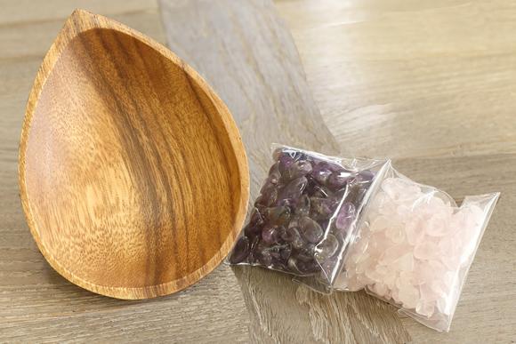 アメジスト&ローズクォーツ陰陽浄化セット(アメジスト&ローズクォーツさざれ、アカシア皿)