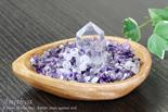アメジストさざれ浄化セット(水晶ポイント、パワーリング 、アカシア木製皿・ドロップ)