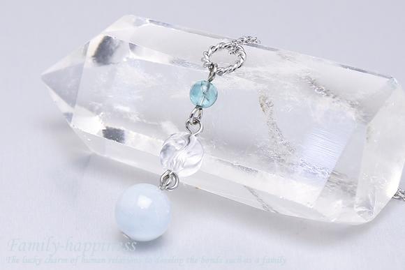 アクアマリン・水晶・アパタイト ネックレス(家庭円満)