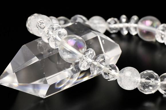 オーロラ水晶 ブレスレット 水晶ミックス