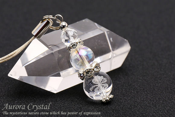 オーロラ水晶 クローバー水晶 ストラップ