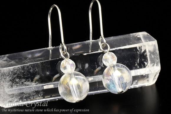 オーロラ水晶 パワーストーンピアス シンプル