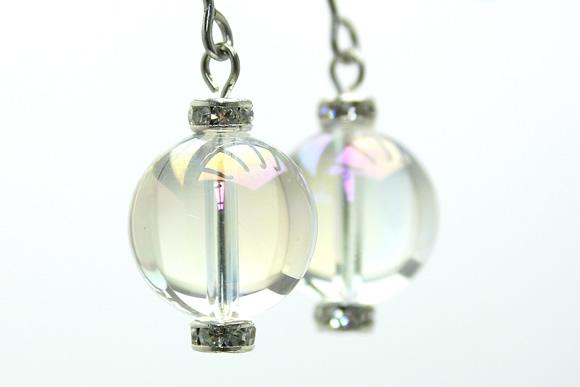 オーロラ水晶 パワーストーンピアス 12mm