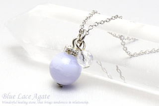ブルーレースアゲート・水晶カット ネックレス