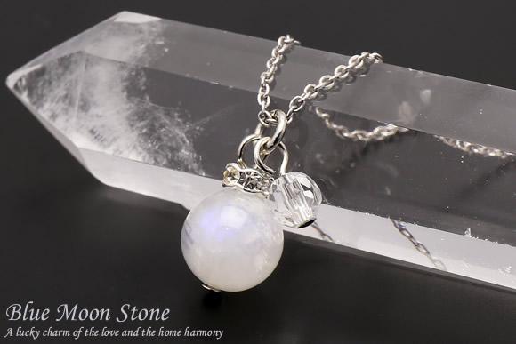 ブルームーンストーン・水晶カット ネックレス