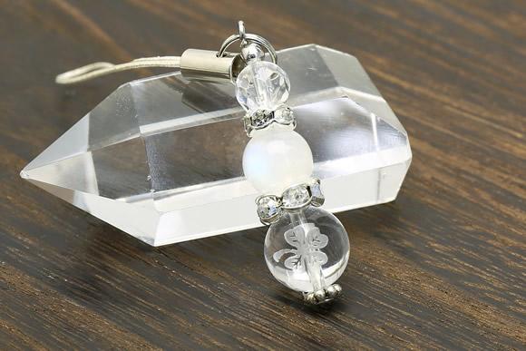 ブルームーンストーン ストラップ クローバー水晶