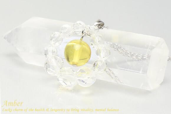 アンバー ネックレス 水晶カットフープ