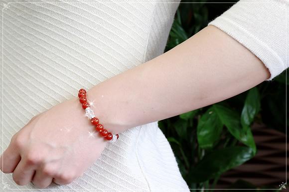 カーネリアン・水晶 ブレスレット ロンデル4ポイント