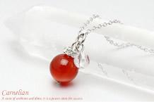 カーネリアン・水晶カット ネックレス