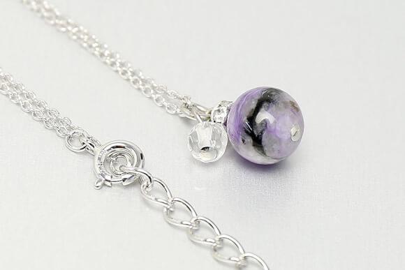 チャロアイト・水晶カット ネックレス