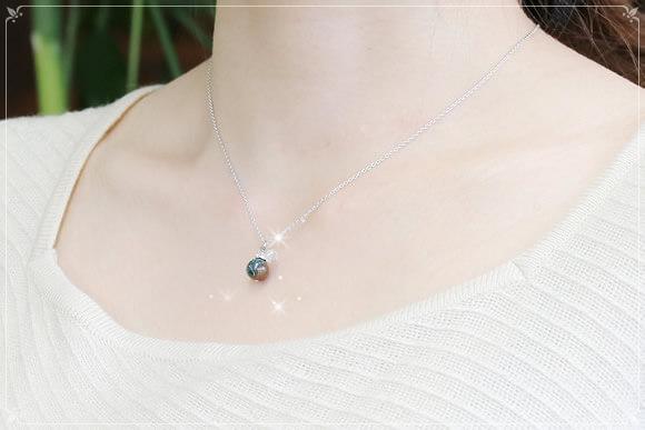 クリソコラ・水晶カット ネックレス
