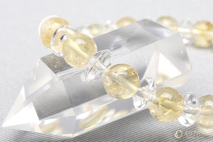 シトリン ブレスレット 水晶ボタン交互