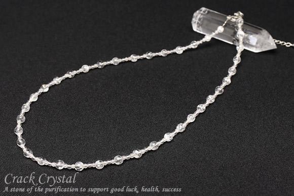 クラック水晶 ネックレス 4mm+2mm