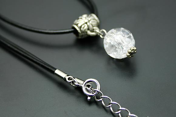 クラック水晶 ネックレス パイプチャーム
