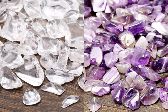 水晶&アメジスト陰陽浄化セット(水晶&アメジストさざれ、アカシア木製皿)