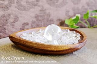 水晶さざれ浄化セット(水晶丸玉、ホワイトセージ、アカシア木製皿・ドロップ)