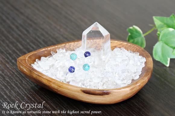 水晶さざれ浄化セット(水晶ポイント、開運パワーリング、アカシア木製皿・ドロップ)