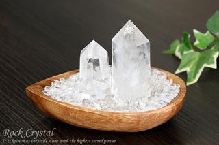 水晶さざれ浄化セット(水晶ポイント×2本、アカシア木製皿・ドロップ)