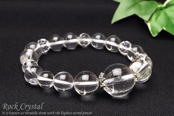 天然石ブレスレット 水晶・16mm大玉メイン