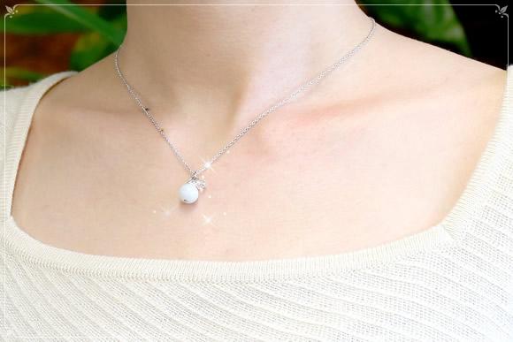 翡翠・水晶カット ネックレス