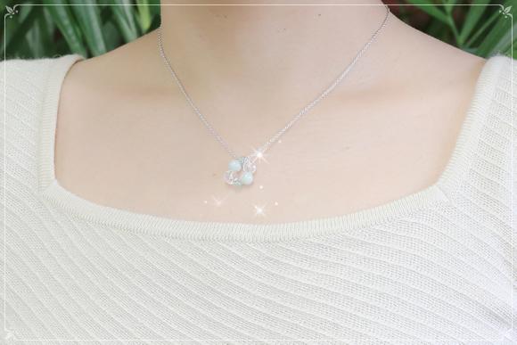 翡翠・アベンチュリン・水晶 ネックレス(健康長寿)