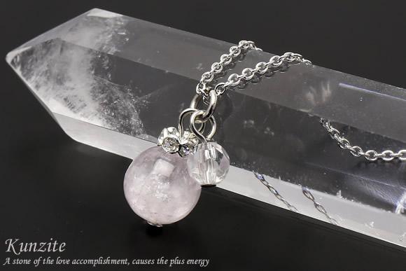 クンツァイト・水晶カット ネックレス