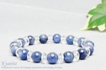 カイヤナイト ブレスレット 水晶ボタン交互