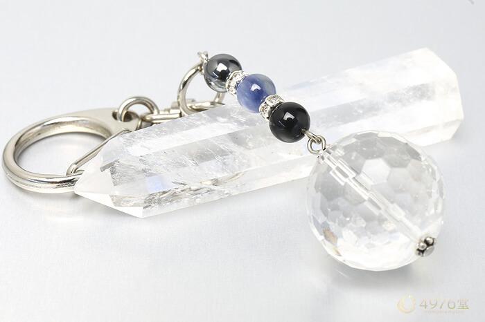 カイヤナイト・ヘマタイト・水晶20mm キーホルダー