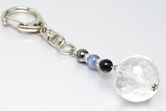 カイヤナイト・ヘマタイト・水晶20mm キーホルダー(出世・独立)