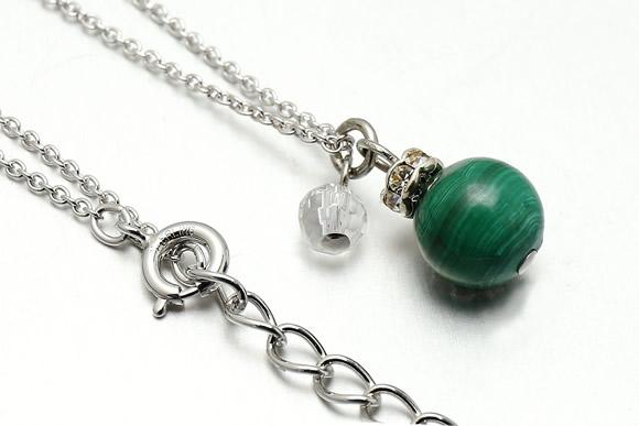 マラカイト・水晶カット ネックレス