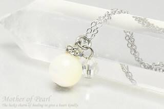 マザーオブパール・水晶カット ネックレス
