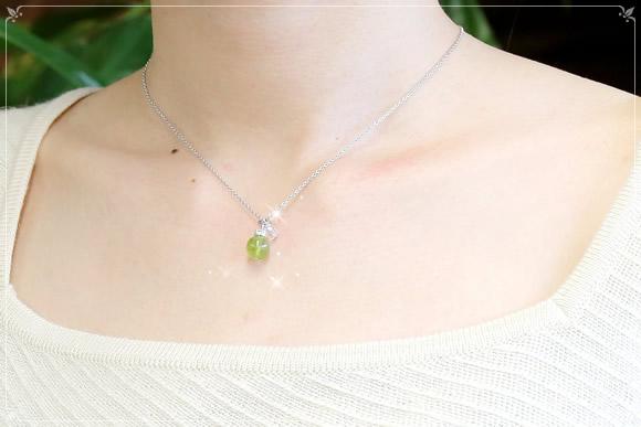ペリドット・水晶カット ネックレス
