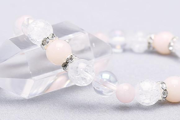 ピンクオパール・モルガナイト・クラック水晶 パワーストーンブレスレット(縁結び)