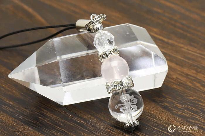 ローズクォーツ ストラップ クローバー水晶