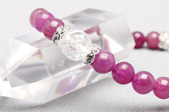 ルビー ブレスレット 水晶カット2ポイント