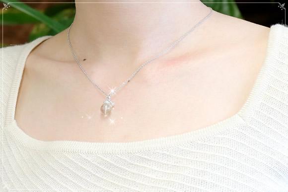 ルチルクォーツ・水晶カット ネックレス