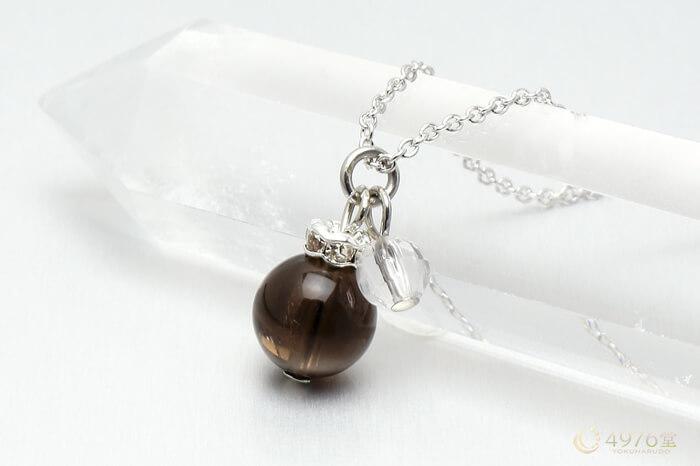 スモーキークォーツ・水晶カット ネックレス