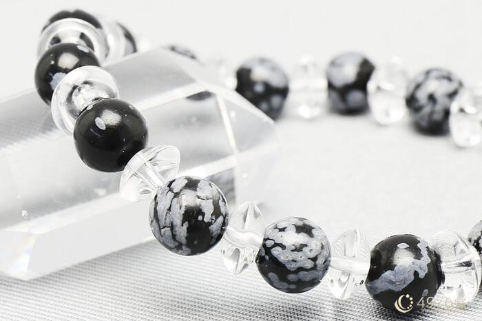スノーフレークオブシディアン パワーストーンブレスレット 水晶ボタン交互