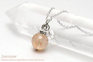 サンストーン・水晶カット ネックレス