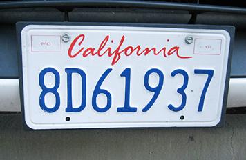 カリフォルニア州ナンバープレート