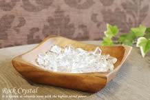 水晶さざれ浄化セット(ホワイトセージ、アカシア木製皿・スクエア)