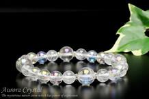 オーロラ水晶・クラック水晶 パワーストーンブレスレット デイジー4ポイント