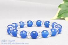 青メノウ パワーストーンブレスレット 水晶ボタン交互