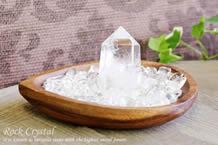 水晶さざれ浄化セット(水晶ポイント、ホワイトセージ、アカシア木製皿・ドロップ)