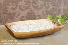 水晶さざれ浄化セット(ホワイトセージ、アカシア木製皿・カヌー大)