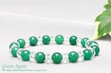 緑メノウ パワーストーンブレスレット 水晶ボタン交互
