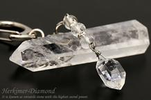 ハーキマーダイヤモンド・水晶 パワーストーンキーホルダー ロンデル