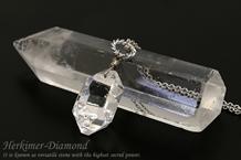 ハーキマーダイヤモンドネックレス ロジウムチェーン