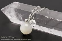 ムーンストーン・水晶カット パワーストーンネックレス